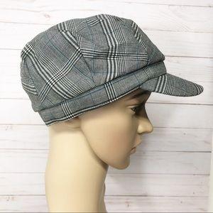 Accessories - Black and white plaid Newsboy Cabbie Hat Cap
